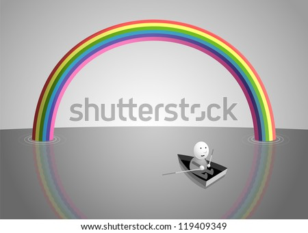 Rainbow over the sea, cartoon illustration - stock vector