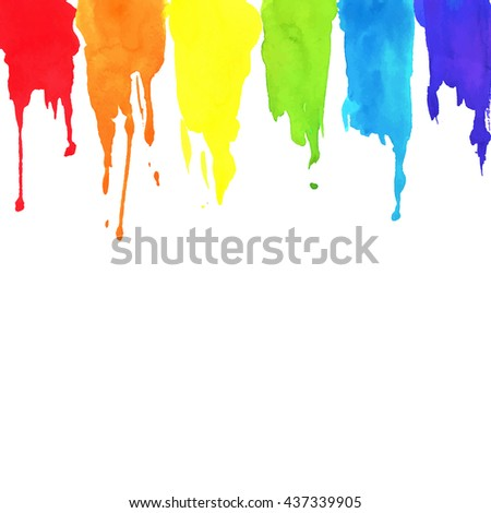 Rainbow paint background. Artistic vector texture with watercolor strokes. - stock vector