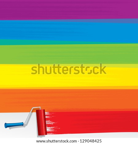 Rainbow Paint Roller Painting a White Wall. Blank Vector Background. - stock vector