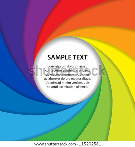 Rainbow paper layers with white bubble - stock vector