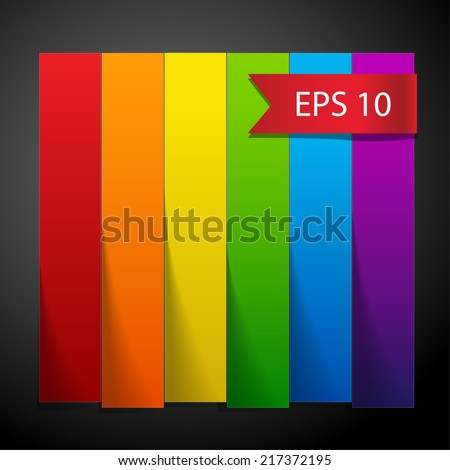 Rainbow paper stripe banners with shadows on dark grey background. RGB EPS 10 vector illustration  - stock vector