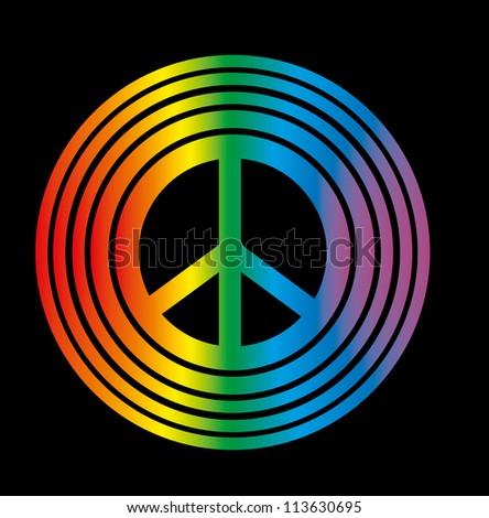 rainbow peace - stock vector