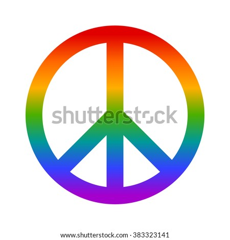 Rainbow peace sign flat icon for apps and websites - stock vector