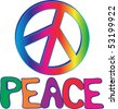 Rainbow PEACE sign with hand drawn text - stock photo