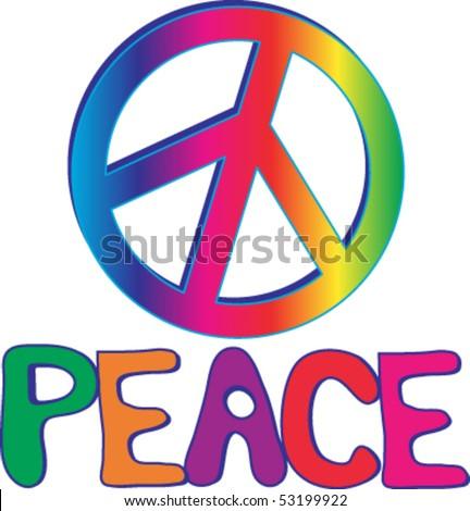 rainbow peace sign hand drawn text stock vector 53199922 shutterstock rh shutterstock com vector art peace sign vector clip art peace sign