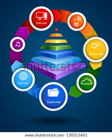 Rainbow pyramid with diagram, EPS 10, file contains transparency - stock vector