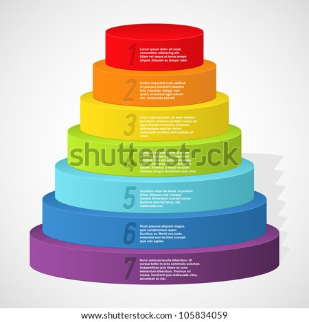 Rainbow pyramid with numbers. Vector illustration. - stock vector