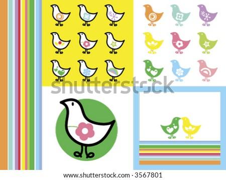 Rainbow Retro Chicks (vector) - cartoon illustration - stock vector