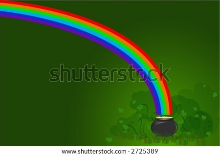 rainbow, shamrock and gold on green background - stock vector