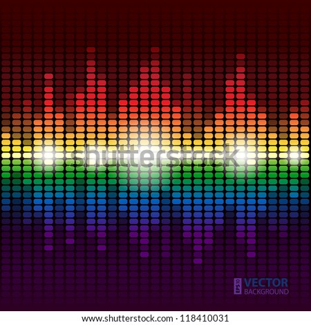Rainbow shining digital equalizer vector background with flares - stock vector