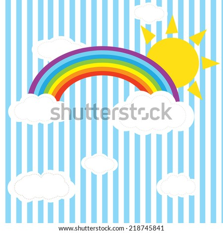 rainbow sky an hearts ion the clouds illustration background pattern in vector - stock vector
