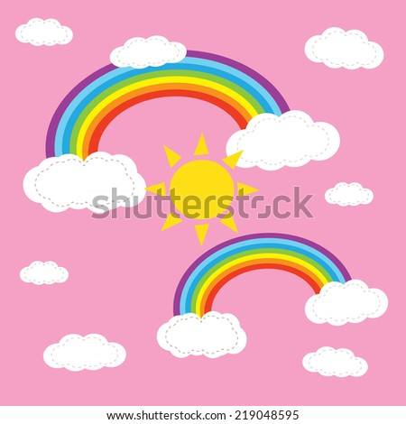 rainbow sky an hearts ion the clouds illustration background pattern in vector