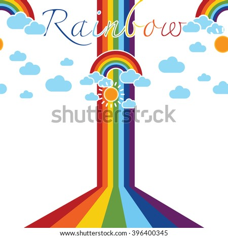 Rainbow sky with clouds illustration background pattern in vector. Background vector can be used for wallpaper, cover fills, web page background, surface textures. Vector linen texture.
