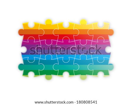 Rainbow spectrum colorful puzzle presentation forming a square graphic template isolated on white background - stock vector