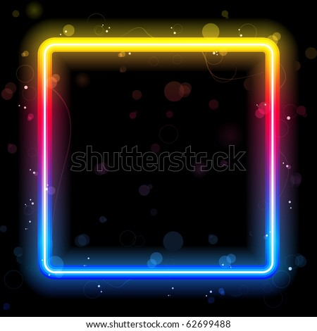 Rainbow Square Border with Sparkles and Swirls. Editable Vector Illustration - stock vector
