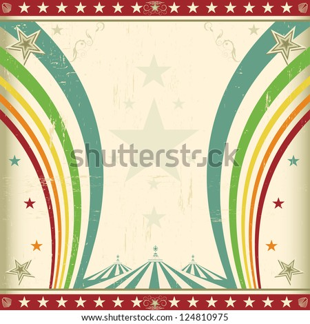 Rainbow square circus invitation. A retro square circus background for an invitation with two rainbows - stock vector