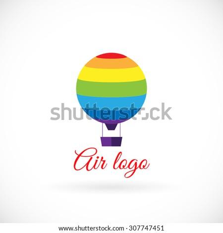 Rainbow striped hot air balloon. Vector logo - stock vector