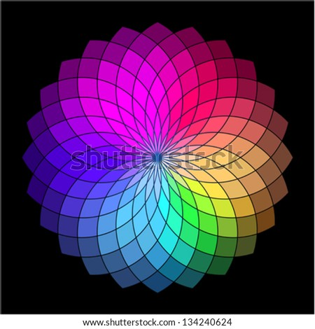 Rainbow Style Vector Wheel Color Creative Abstract Flower
