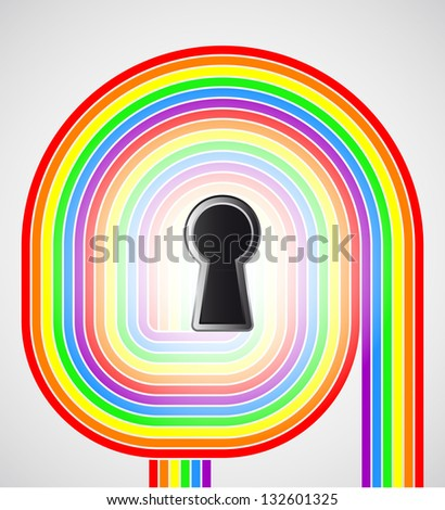 rainbow swirl with keyhole in the middle vector illustration