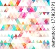 rainbow triangle seamless pattern with grunge effect - stock vector
