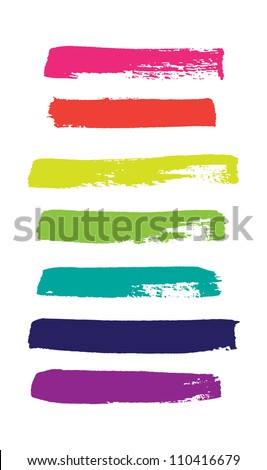 Rainbow vector brush strokes collection - stock vector