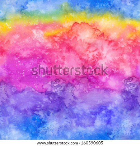 Rainbow vector watercolor hand-drawn seamless pattern tile - stock vector