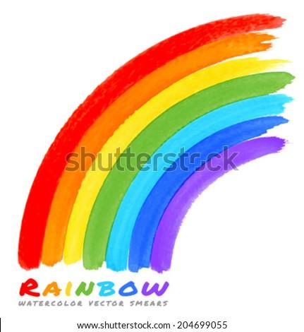 Rainbow Watercolor Brush Smears, vector illustration, logo - stock vector