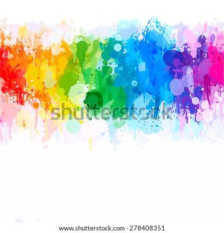 Rainbow watercolor brush strokes background. Vector version - stock vector