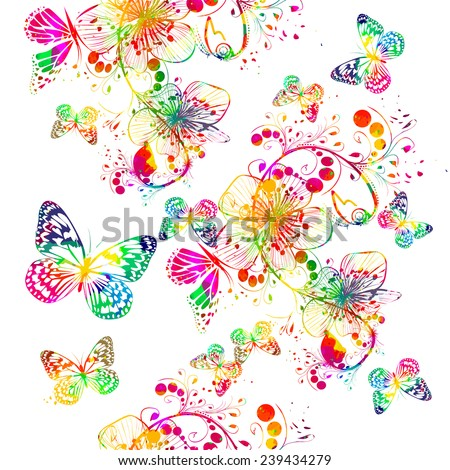 Rainbow watercolor floral abstraction with butterfly. seamless background. Vector