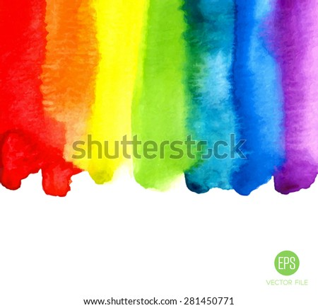 Rainbow, watercolor texture. Abstract background vector. Colorful, red, orange, yellow, green, blue, indigo, violet colors. Web and mobile interface, website template - stock vector