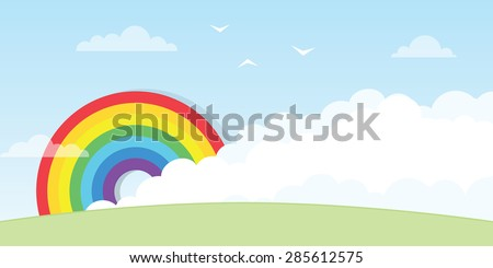 Rainbow with cloud - stock vector