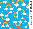 Rainbows Sky and Clouds Seamless Pattern- Groovy Notebook Doodles Hand-Drawn Vector Illustration Background - stock vector