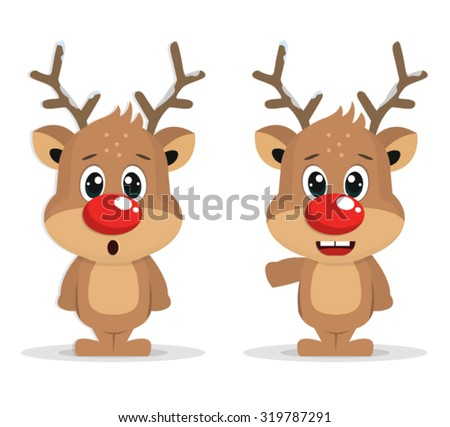 Raindeer With Red Nose - stock vector