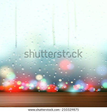 raindrops on the window - stock vector