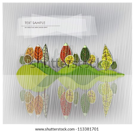 raining forest background - stock vector