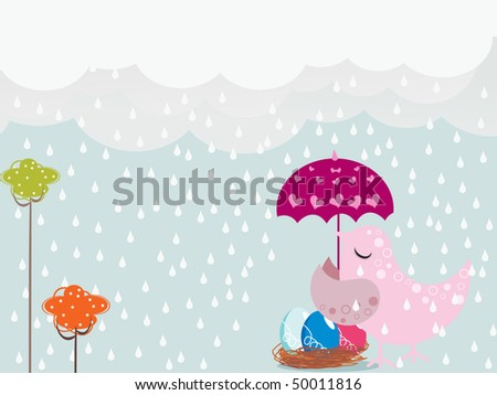 rainy background with bird covering colorful egg in umbrella - stock vector