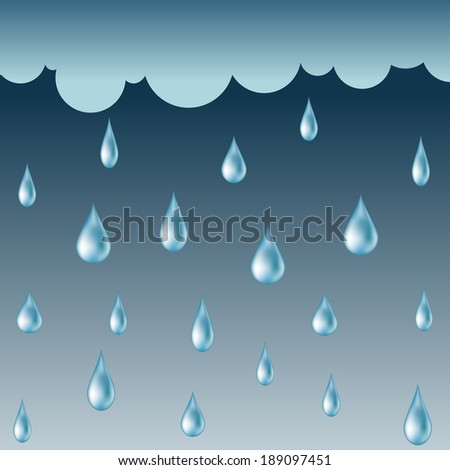 Rainy background with water drops - stock vector