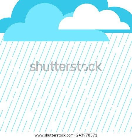 Rainy day background with clouds and rain drops - stock vector