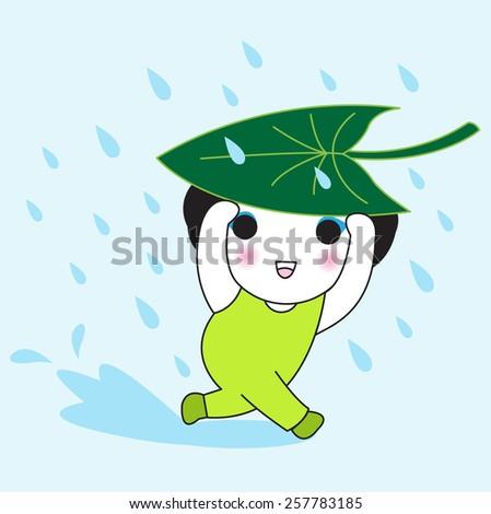 Rainy Day character illustration - stock vector