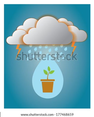 rainy drop from cloud to glowing tree,background - stock vector