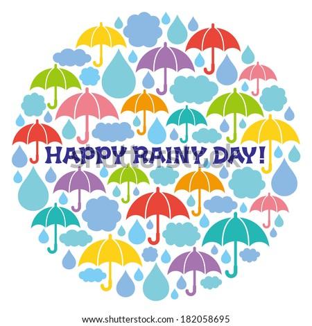 rainy illustrations in circle. Happy Rainy Day. - stock vector