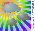 Rainy in rainbow rays with clouds, vector illustration - stock vector
