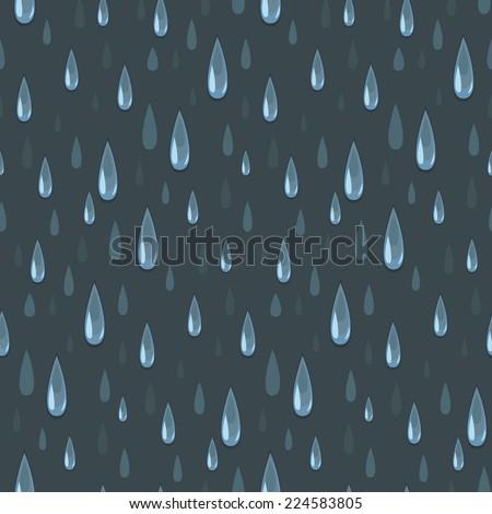 Rainy night. Vector seamless pattern featuring raindrops. - stock vector