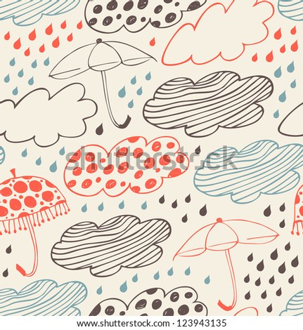 Rainy seamless decorative background. Ornate pattern with clouds, umbrellas and drops of rain. Cartoon stylish texture with many cute details - stock vector