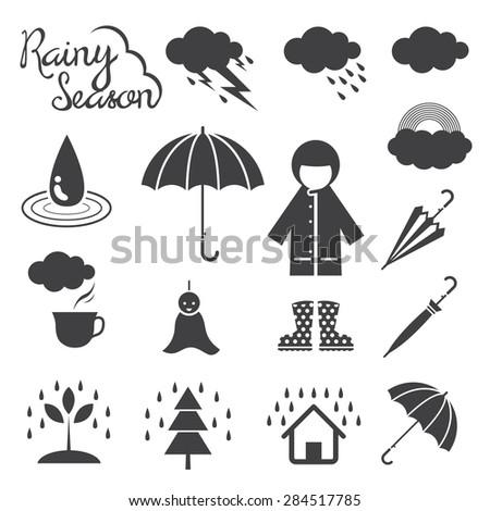 Rainy Season Mono Icons Set, Monsoon, Rain,  - stock vector