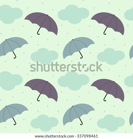 rainy sky with colorful umbrella seasonal seamless vector pattern background illustration