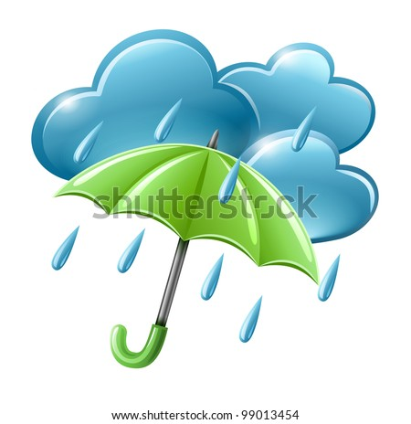 rainy weather icon clouds umbrella vector stock vector 99013454