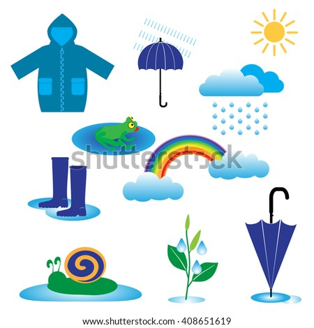 rainy weather icons with clouds and umbrella, vector illustration isolated on white  - stock vector