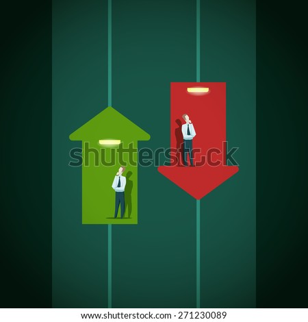 Raise and fall of business indicators. Career lift concept. - stock vector