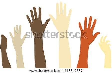 Raised arms of diversity vector